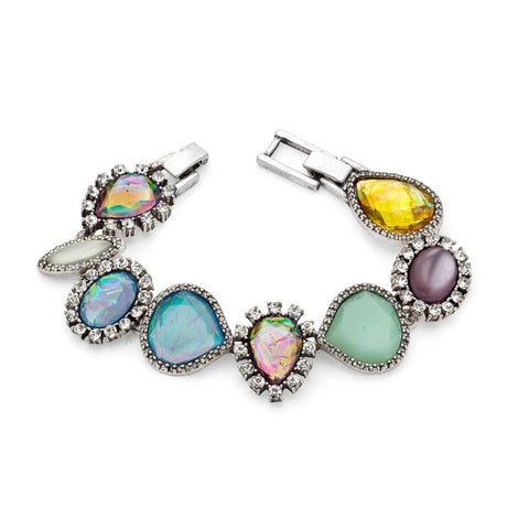 Multi-Stone Mint Green Yellow Turquoise Purple Multi-color Statement Bracelet | 7 Charming Sisters