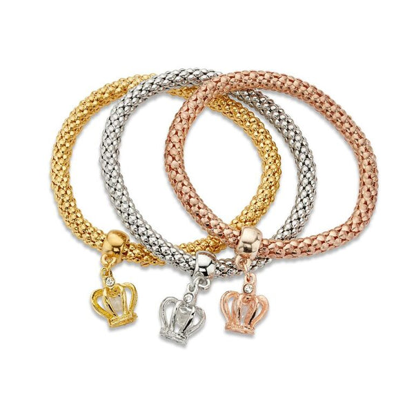 Silver Rose Gold Threaded Royal Crown Pendant Bracelets Set | 7 Charming Sisters