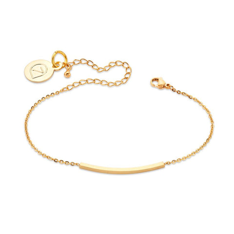 Delicate Curved Gold Bar Bracelet | 7 Charming Sisters