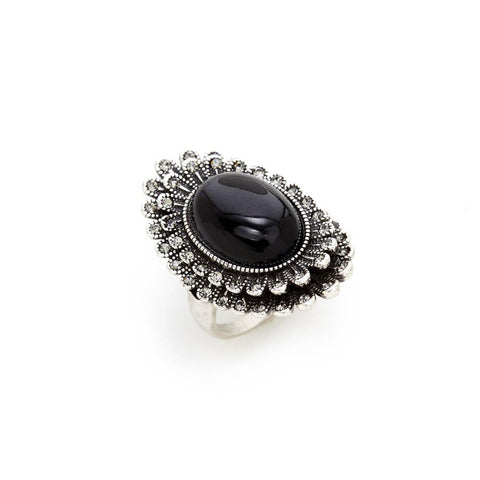Black and Silver Crystal Ring