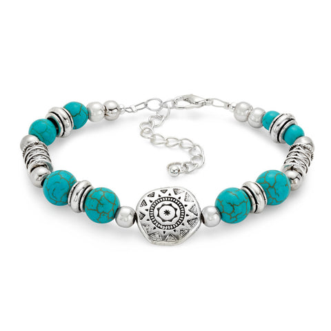 Boho Breeze Turquoise and Silver Bracelet