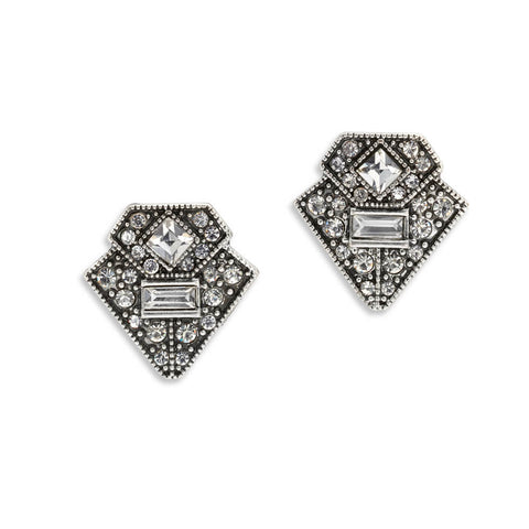 Geometric Crystal Stud Earrings