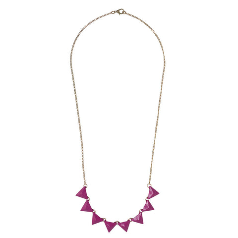 Pink triangle statement necklace