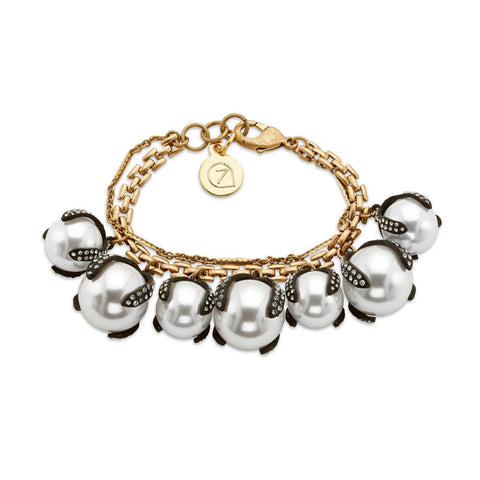Curated pearl crystal charm bracelet