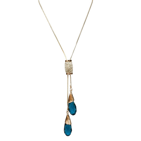blue crystal drop lariat necklace