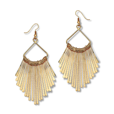 Gold Fringe Drop Earrings