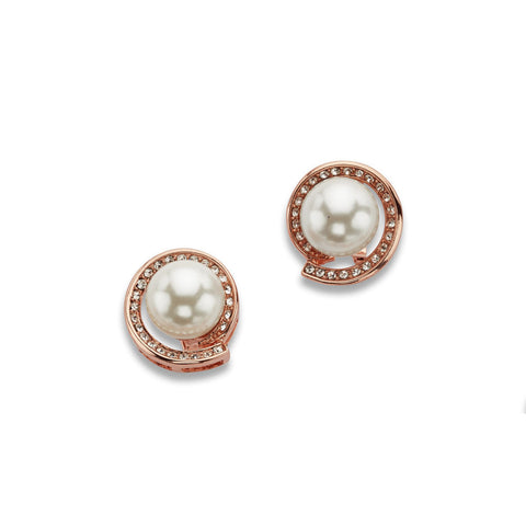 Rose Gold and Pearl Stud Earrings
