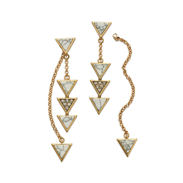 Gold Crystal Long Triangle Drop Earrings | 7 Charming Sisters