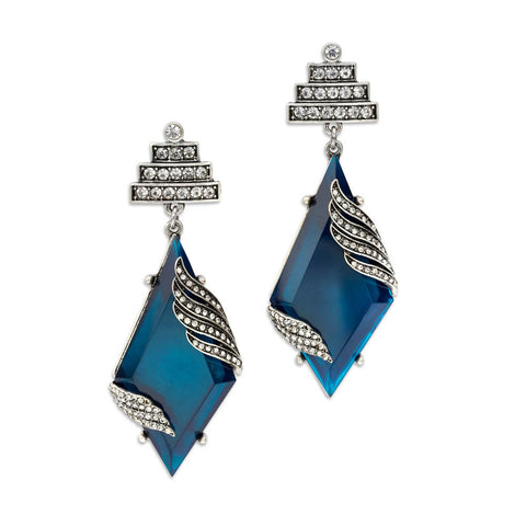 Blue and Silver Crystal Statement Earrings