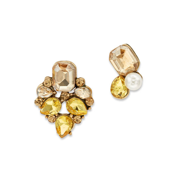 Yellow Stud Mismatched Earrings
