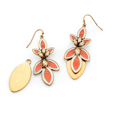 Orange and Gold Drop Earrings