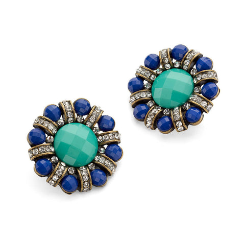 Blue Clip on Earrings