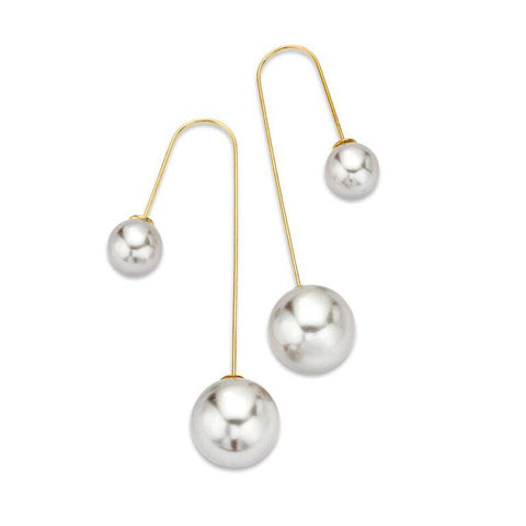 Pearl Curved Half-Hoop Bar Dangle Earrings | 7 Charming Sisters