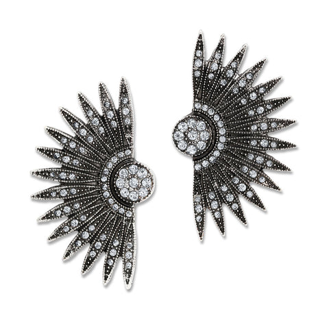 rhinestone accent fan stud earrings