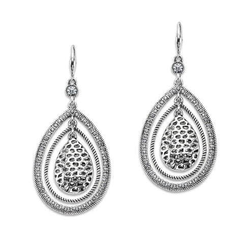 Silver Large Drop Statement Hoop with Pendent Earrings | 7 Charming Sisters