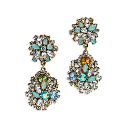 Green Crystal Floral Drop Earrings