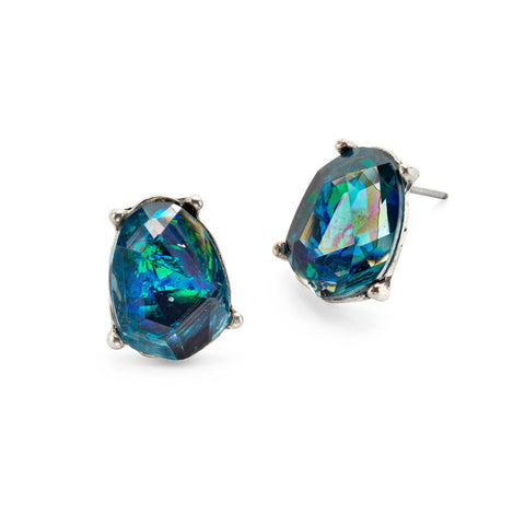 Green and Blue Crystal Stud Earrings