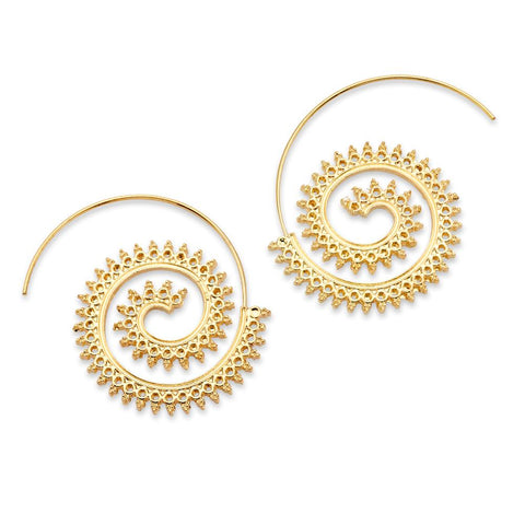 Gold Silver Spiral Geometric Logarithmic Mandala Hoop Earrings | 7 Charming Sisters