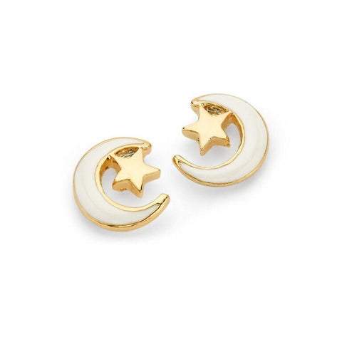 White Crescent Moon Gold Star Stud Earrings | 7 Charming Sisters