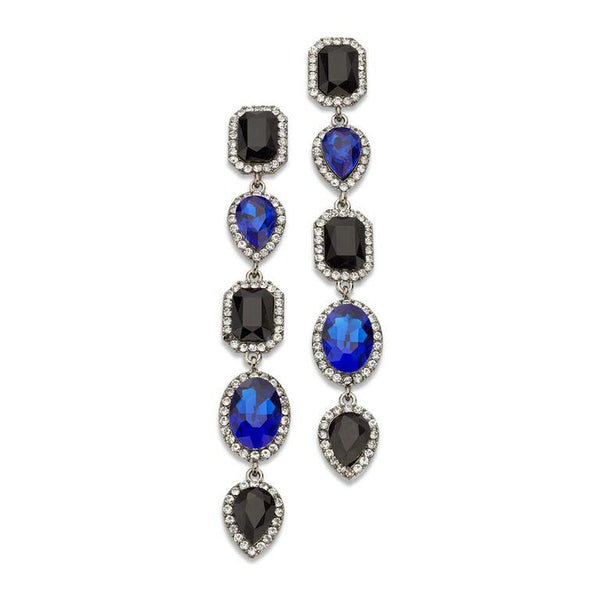 Blue and Black Five Tiered Cascading Multicolored Gems Encrusted Crystal Drop Earrings | 7 Charming Sisters