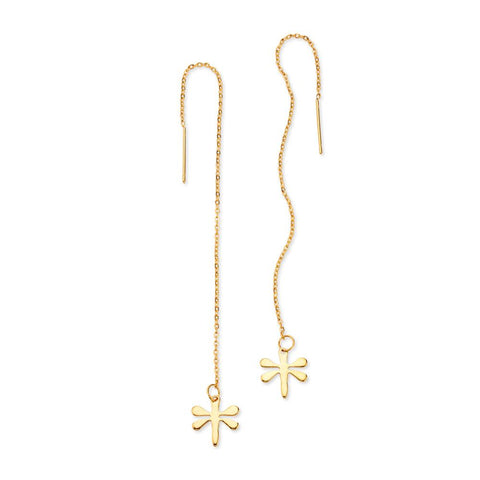 Minimalist Gold Dragonfly Threader Chain Drop Earrings | 7 Charming Sisters