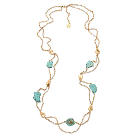flowing long gold and turquoise necklace
