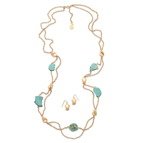 flowing long gold and turquoise necklace set