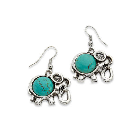 Turquoise Elephant Earrings