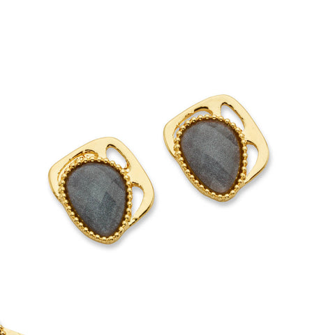 Gray Stone and Gold Stud Earrings