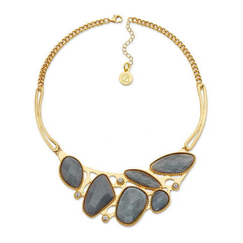 Gray and Gold Bib Necklace