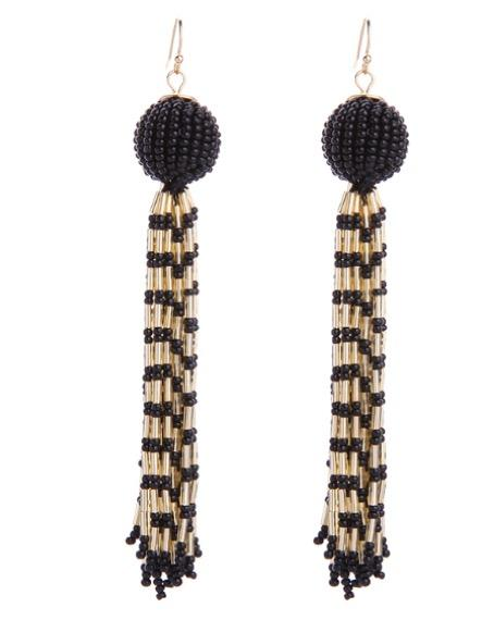Black Beaded Ball Gold Bead Fringe Tassel Multi-Strand Drop Statement Earrings | 7 Charming Sisters