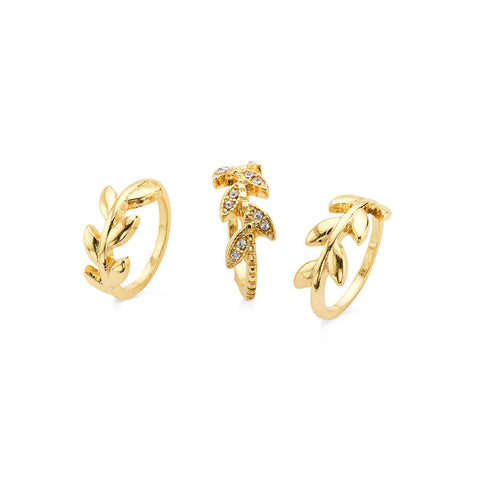 Cheap 3 Stackable Leaf Ring Gold for Women | 7 Charming Sisters
