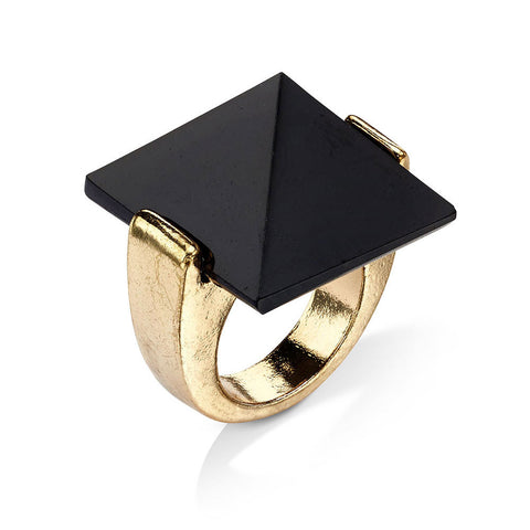 black pyramid shaped stone ring