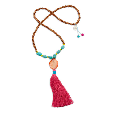 Cheap Long Wooded Turquoise and Pink  Beaded Tassel Necklace | 7 Charming Sisters