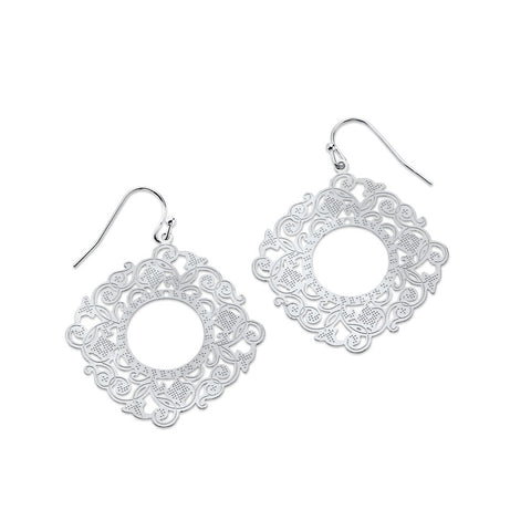 Silver Dangle Lace Earrings | 7 Charming Sisters
