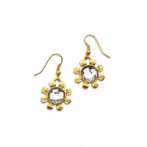 Cheap Crystal Gold Flower Earrings Dangle | 7 Charming Sisters