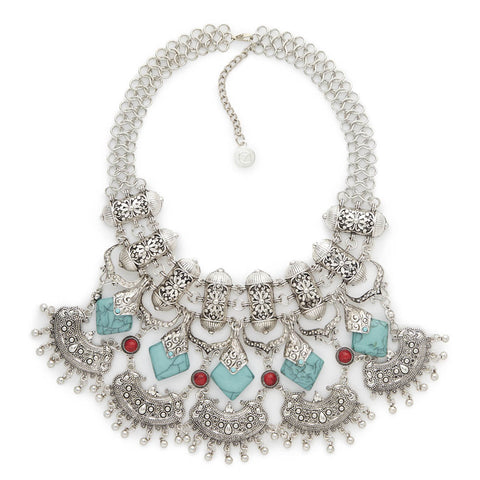 Cheap Big Silver and Turquoise Statement Necklace | 7 Charming Sisters