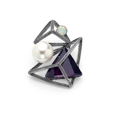 Cheap Geometric Pearl Swarovski Crystal Brooch | 7 Charming Sisters