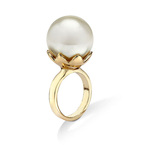 gold pearl cocktail ring