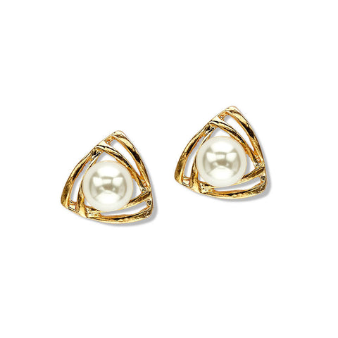 gold triangle pearl stud earrings