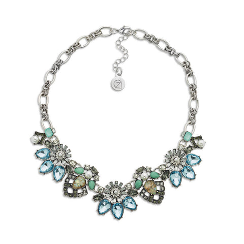 Silver Crystal Floral Bib Necklace