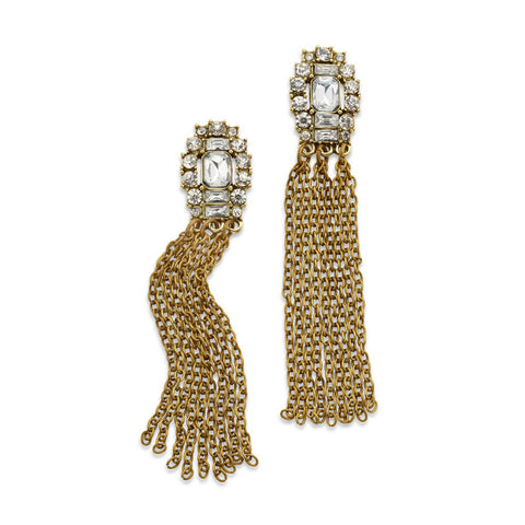 Cheap Long Gold Tassel and Fringe Drop Earrings | 7 Charming Sisters