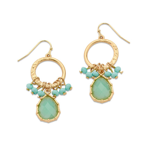 Affordable Gold and Turquoise Dangle Crystal Hoop Earring | 7 Charming Sisters