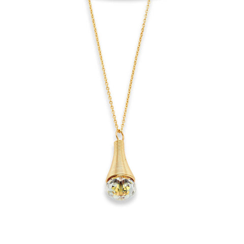Gold Austrian Crystal Pendent Layered Choker Necklace | 7 Charming Sisters