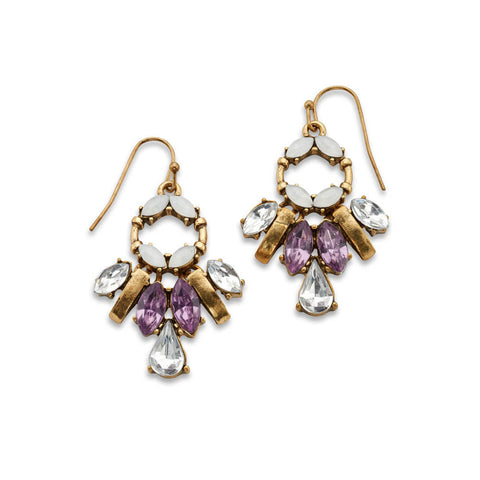 Cheap Purple and Gold Crystal Drop Earrings | 7 Charming Sisters