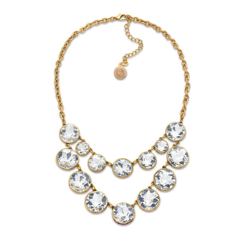 Antique crystal bib necklace