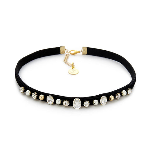 black choker with pearls