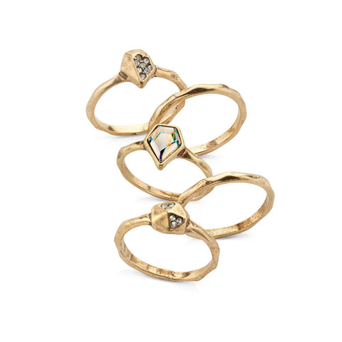 Gold and crystal ring bands