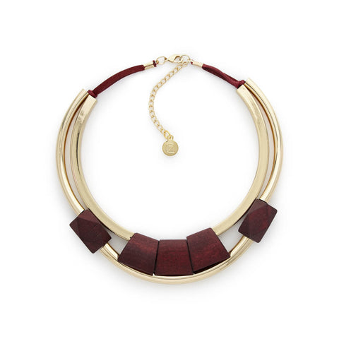 Gold & Red Wood Choker Necklace
