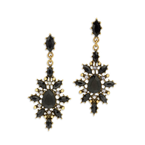 Vintage black statement earrings